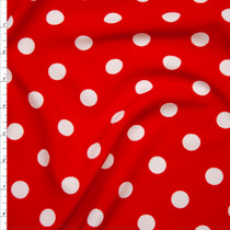 What on Red Polka Dot Liverpool Knit Print Fabric By The Yard