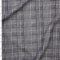 Black and White Houndstooth Plaid Liverpool Knit Print Fabric By The Yard