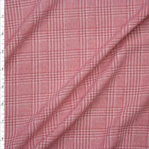 Pink and White Houndstooth Plaid Liverpool Knit Print Fabric By The Yard