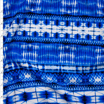 Blue Watercolor Bohemian Stripe Liverpool Knit Print Fabric By The Yard