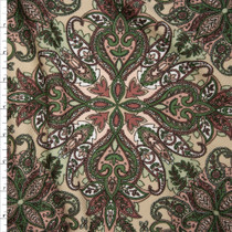 Tan, Olive, and Dusty Rose Paisley Pattern Liverpool Knit Print Fabric By The Yard