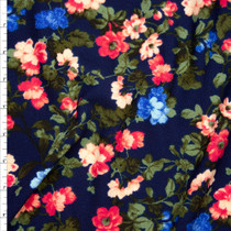 Pink, Blue, and Deep Sage Floral on Navy Blue Liverpool Knit Print Fabric By The Yard
