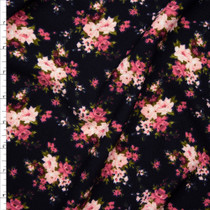 Pink and Green Rose Clusters on Black Liverpool Knit Print Fabric By The Yard