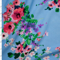 Pink, Purple, and White Watercolor Floral on Sky Blue Liverpool Knit Print Fabric By The Yard