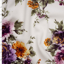 Plum, Dusty Sage, and Goldenrod Floral on Offwhite Liverpool Knit Print Fabric By The Yard