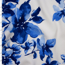 Blue Large Watercolor Floral on White Liverpool Knit Print Fabric By The Yard