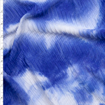 Blue Tie Dye Snakeskin Textured Stretch Double Knit Fabric By The Yard