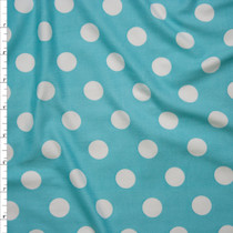 "White on Aqua 5/8"" Polka Dot Double Brushed Poly Spandex Print Fabric By The Yard"