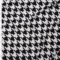 Black and White Houndstooth Pattern Double Brushed Poly Spandex Print Fabric By The Yard