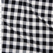 "Black and White 5/8"" Gingham Check Double Brushed Poly Spandex Print Fabric By The Yard"