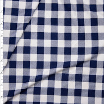 "Navy Blue and White 5/8"" Gingham Check Double Brushed Poly Spandex Print Fabric By The Yard"