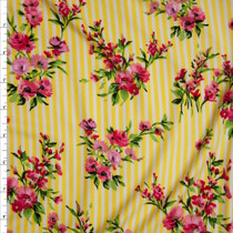 Pink Floral on White and Yellow Stripe Double Brushed Poly Spandex Print Fabric By The Yard