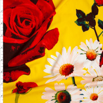 Daisies and Roses on Bright Yellow Double Brushed Poly Spandex Print Fabric By The Yard
