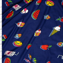 Bright Snack Foods on Navy Double Brushed Poly Spandex Print Fabric By The Yard