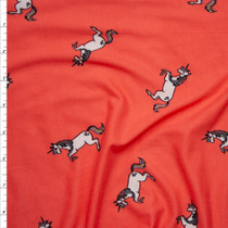 Unicorns on Bright Coral Double Brushed Poly Spandex Print Fabric By The Yard