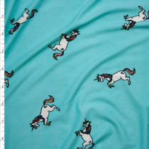 Unicorns on Bright Aqua Double Brushed Poly Spandex Print Fabric By The Yard