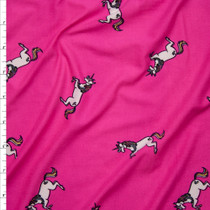 Unicorns on Hot Pink Double Brushed Poly Spandex Print Fabric By The Yard
