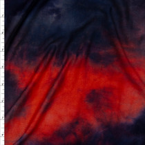 Bright Red Orange, Navy, and Charcoal Tie Dye Rayon Lycra Jersey Knit Fabric By The Yard