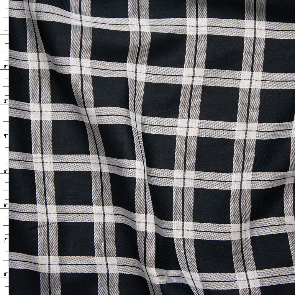 Black and White Windowpane Check Cotton Voile from 'Rag N' Bone' Fabric By The Yard