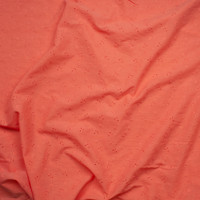Bright Coral Wavy Floral Cotton Gauze Eyelet Fabric By The Yard - Wide shot
