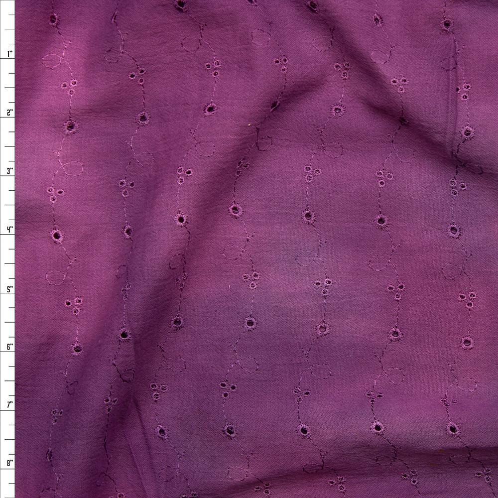 Plum Tie Dye Wavy Floral Cotton Gauze Eyelet Fabric By The Yard
