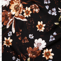 Brown, Sage, and Light Blue Floral on Black Rayon Challis Fabric By The Yard