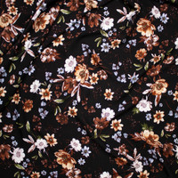 Brown, Sage, and Light Blue Floral on Black Rayon Challis Fabric By The Yard - Wide shot