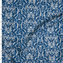 Teal, Navy, and Tan Damask Print Rayon Gauze Fabric By The Yard