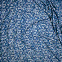 Teal, Navy, and Tan Damask Print Rayon Gauze Fabric By The Yard - Wide shot