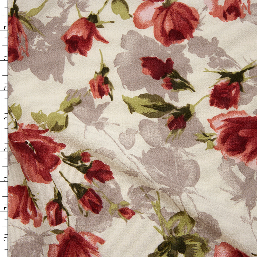 Wine, Mauve, Sage, and Tan Watercolor Floral on Ivory Rayon Crepe Fabric By The Yard