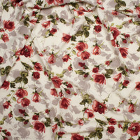 Wine, Mauve, Sage, and Tan Watercolor Floral on Ivory Rayon Crepe Fabric By The Yard - Wide shot