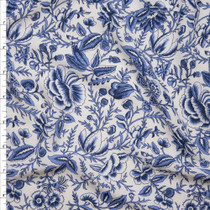 Blue on White Ornate Floral Rayon Georgette Fabric By The Yard