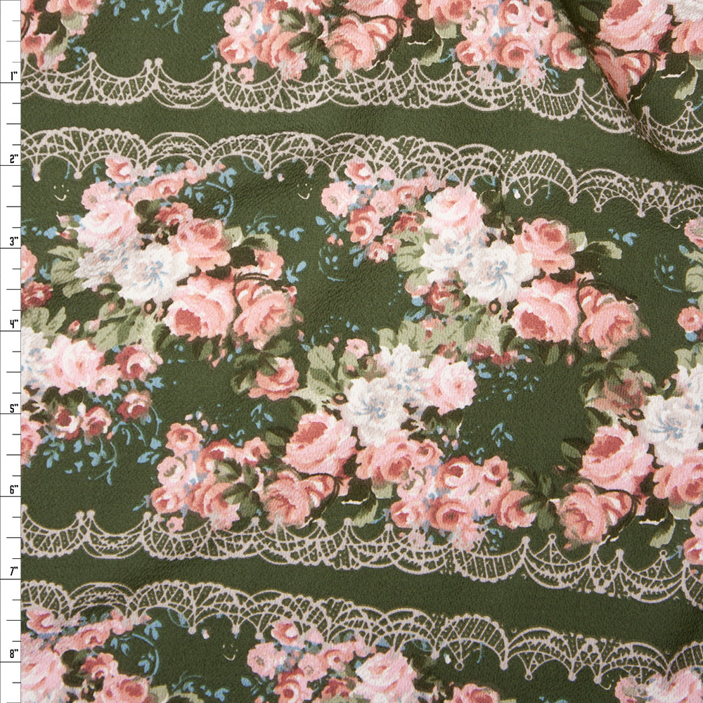 Pink, White, and Sage Horizontal Floral Stripe on Olive Green Rayon Georgette Fabric By The Yard