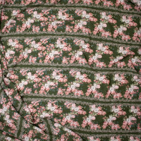 Pink, White, and Sage Horizontal Floral Stripe on Olive Green Rayon Georgette Fabric By The Yard - Wide shot