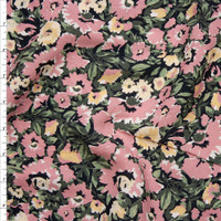 Dusty Rose, Yellow, and Sage Floral on Black Rayon Crepe Fabric By The Yard