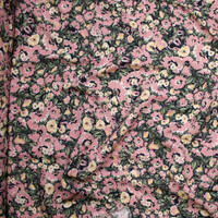 Dusty Rose, Yellow, and Sage Floral on Black Rayon Crepe Fabric By The Yard - Wide shot