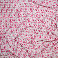 Hot Pink and White Daisies on Light Grey Rayon Challis Fabric By The Yard - Wide shot