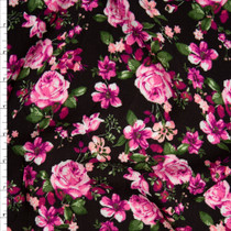 Bright Pink and Deep Sage Rose Floral on Black Rayon Gauze Fabric By The Yard