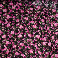 Bright Pink and Deep Sage Rose Floral on Black Rayon Gauze Fabric By The Yard - Wide shot