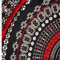 Red, Tan, and White Large Medallion Print Rayon Gauze Fabric By The Yard
