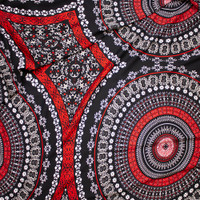 Red, Tan, and White Large Medallion Print Rayon Gauze Fabric By The Yard - Wide shot