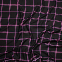 Hot Pink on Black Windowpane Plaid Rayon Gabardine from 'Generation Love' Fabric By The Yard - Wide shot