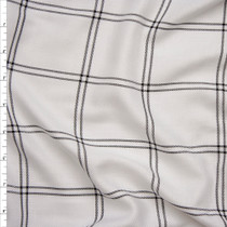 Black on White Windowpane Plaid Rayon Gabardine from 'Generation Love' Fabric By The Yard