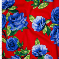 Blue Roses with Green Leaves on Bright Red Double Brushed Poly Spandex Fabric By The Yard