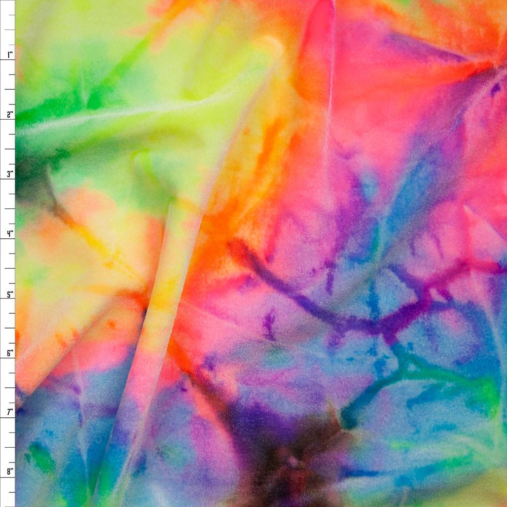 Tie Dye 4-way Stretch Velvet Fabric By The Yard
