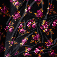 Plum and Caramel Floral on Black 4-way Stretch Velvet Fabric By The Yard - Wide shot