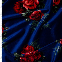 Red and Sage Floral on Navy Blue 4-way Stretch Velvet Fabric By The Yard