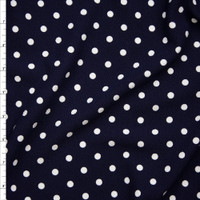 White Polka Dots on Navy Blue Liverpool Knit Fabric By The Yard