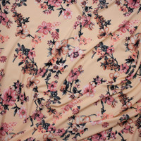Dusty Pink, Peach, and Charcoal Floral on Soft Peach Liverpool Knit Fabric By The Yard - Wide shot