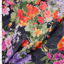 Watercolor Floral on Charcoal Nylon/Lycra Fabric By The Yard
